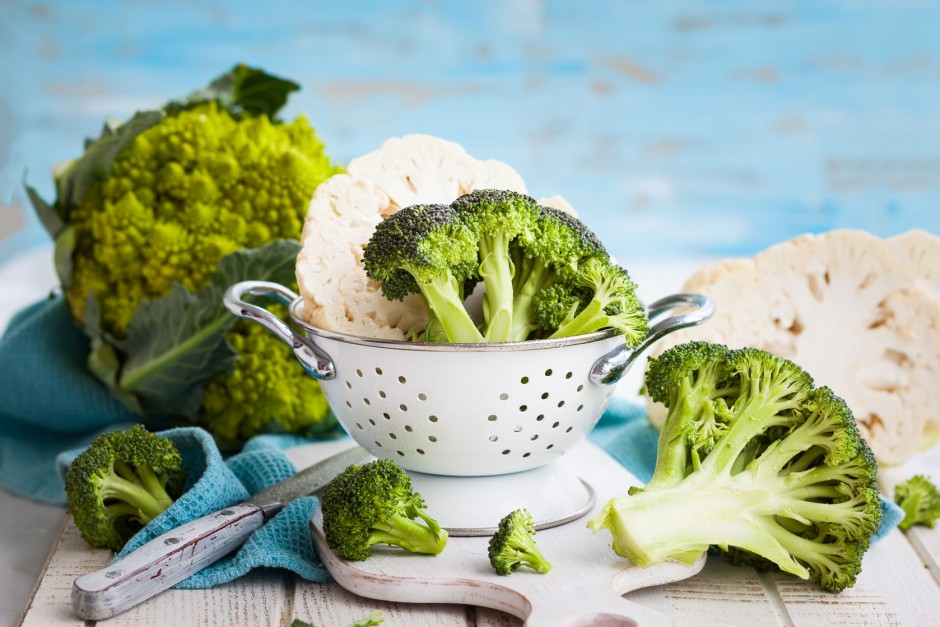 40974152 - various types of cabbage: romanesco broccoli and cauliflower