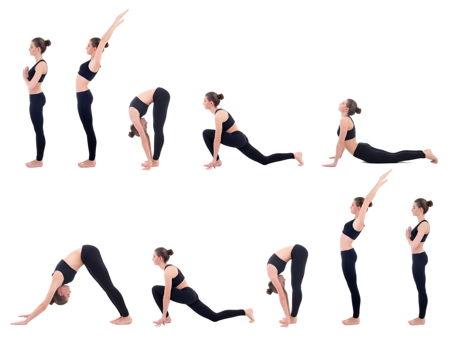 42654835 - beautiful slim woman in yoga sun salutation sequence poses isolated on white background