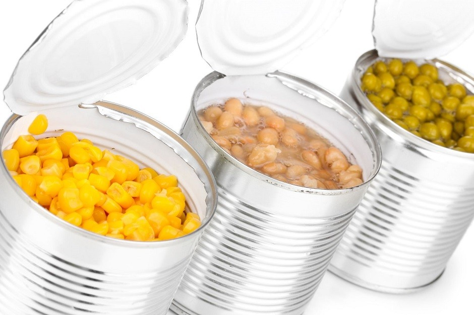 13517231 - open tin cans of corn, beans and peas isolated on white