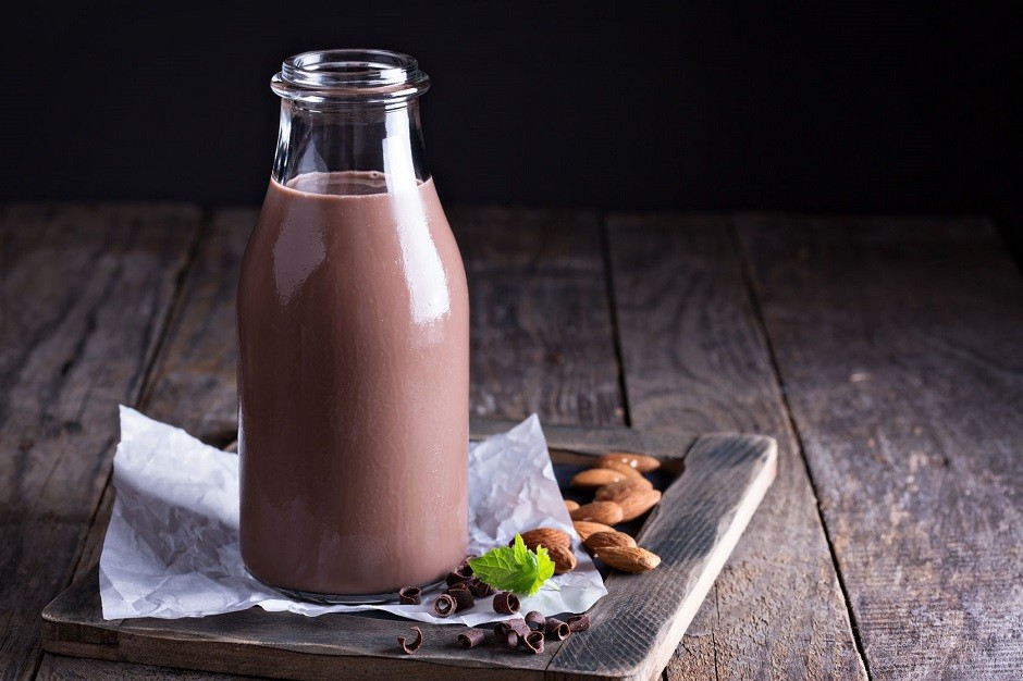 43178027 - homemade almond chocolate milk in a bottle