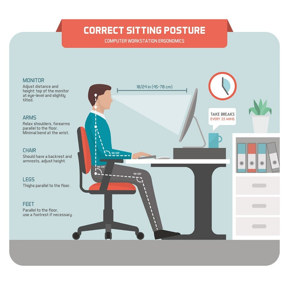 75835715 - correct sitting at desk posture ergonomics: office worker using a computer and improving his posture