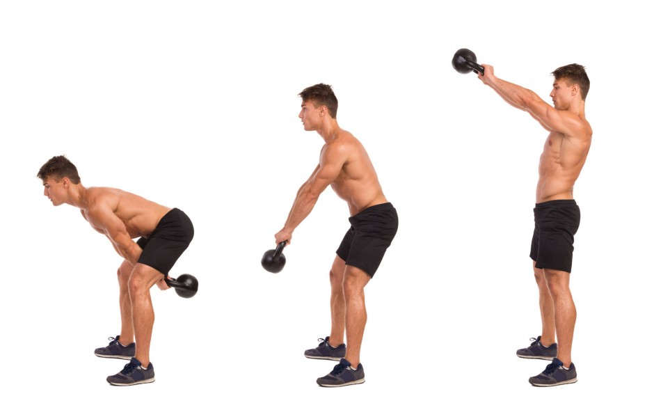 51481060 - muscular man in sport shorts and sneakers showing a kettlebell exercise step by step. full length studio shot isolated on white.